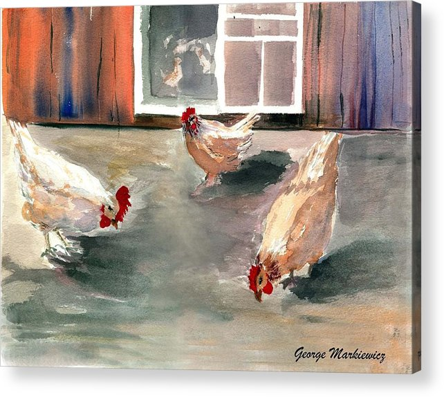 Farm Aniimals Acrylic Print featuring the print Chickens in the Barnyard by George Markiewicz