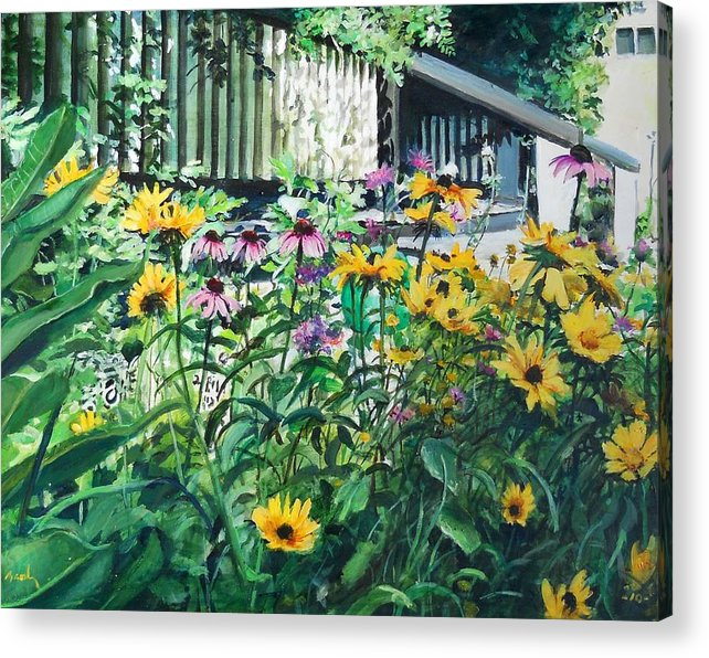 Flowers Yellow Acrylic Print featuring the painting Kathys Garden by William Brody