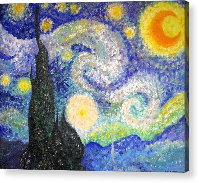 Replicas Acrylic Print featuring the painting Replica Of Van Gogh by Katerina Wagner