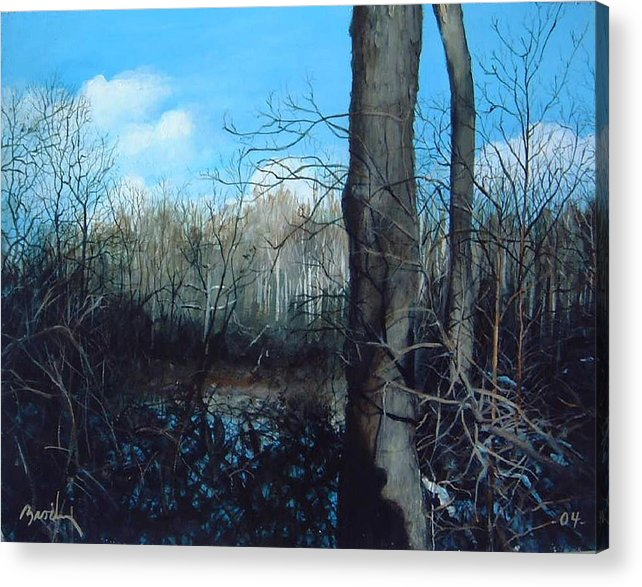 Landscape Acrylic Print featuring the painting Winter Trees by William Brody