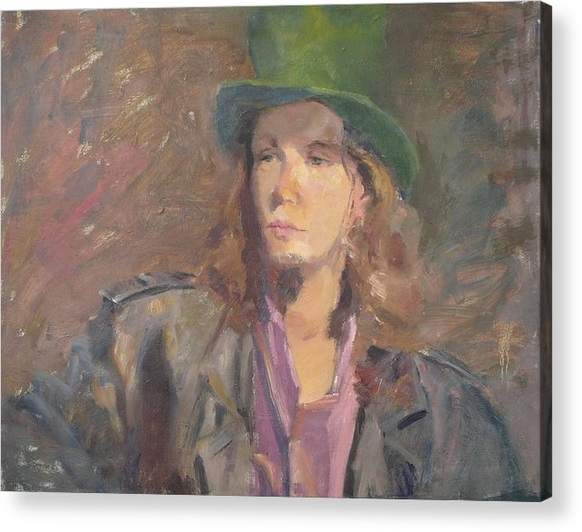 Young Man Irish Green Hat Portrait Figurative Long Hair Coat Acrylic Print featuring the painting Young Irish Man by Irena Jablonski