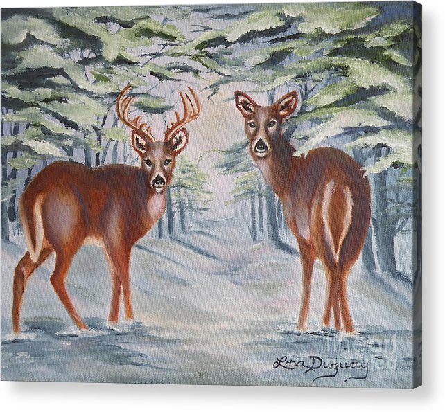 Deer Acrylic Print featuring the painting Whitetail Deer in Winter by Lora Duguay