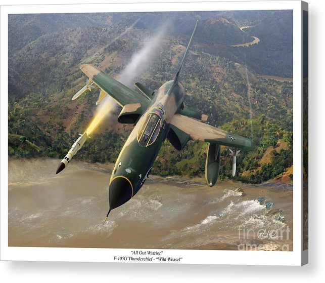 Aviation Acrylic Print featuring the painting All Out Warrior by Mark Karvon