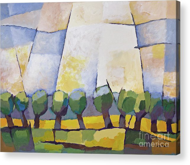 Landscape Acrylic Print featuring the painting Allee mit Rapsfeld by Lutz Baar