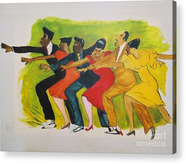 Dances From The 30's Acrylic Print featuring the mixed media Dance Series1 0f 8-Shim Sham Shimmy by JackieO Kelley