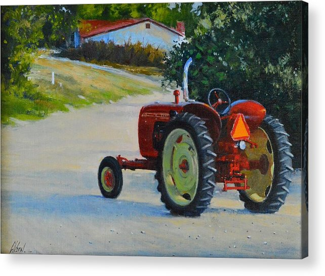 Tractor Acrylic Print featuring the painting Happy Apple Farm by Greg Clibon