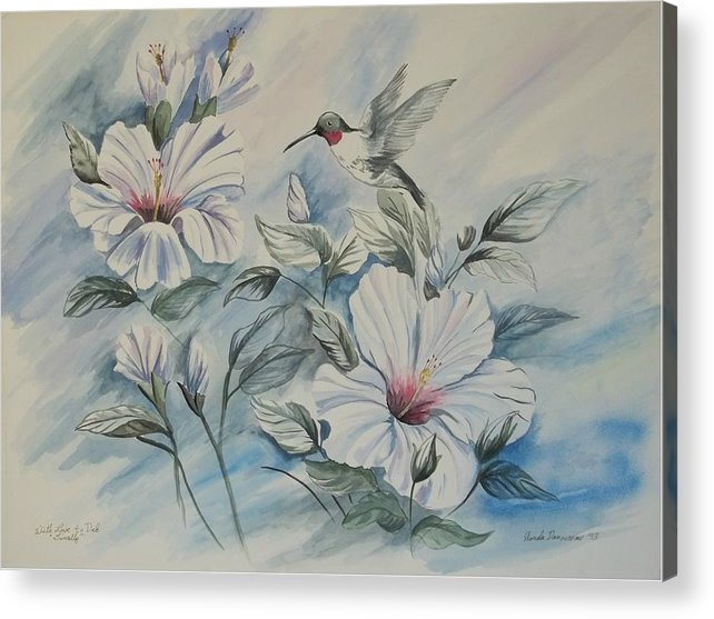 White Hibiscus Acrylic Print featuring the painting Hibiscus In Spring by Wanda Dansereau