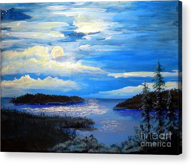 Moonlight Acrylic Print featuring the painting Narrows Moon by John Wise