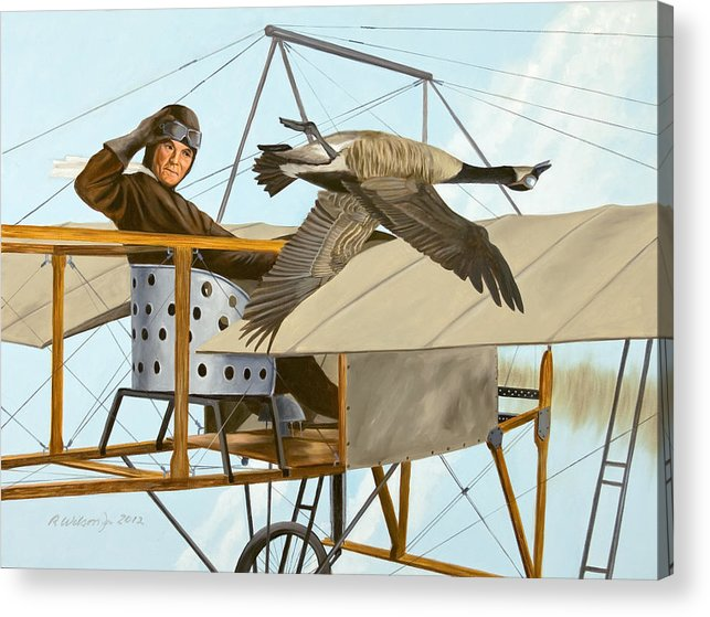 Aviator Acrylic Print featuring the painting The Fledgling by Karen Wilson