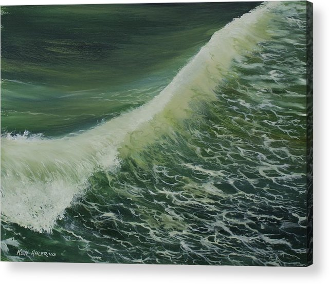 Surf Acrylic Print featuring the painting Breaker by Ken Ahlering