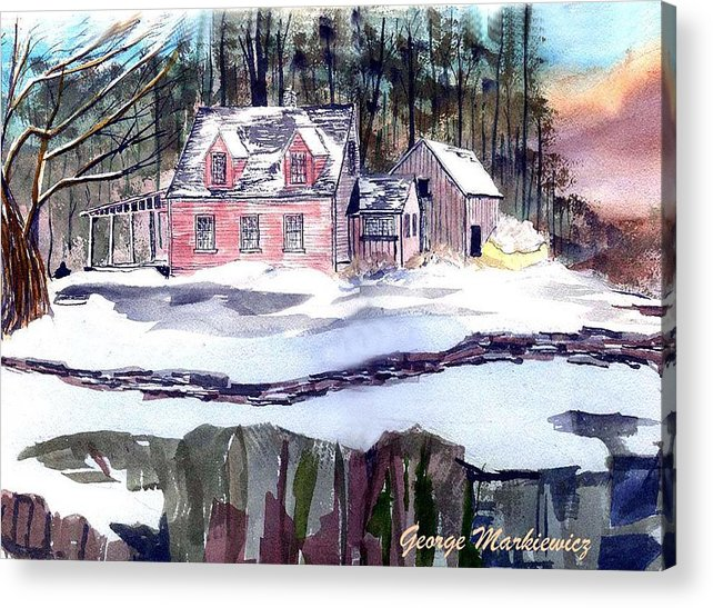 Landscape Cape Cod House Acrylic Print featuring the print Cape Cod House by George Markiewicz