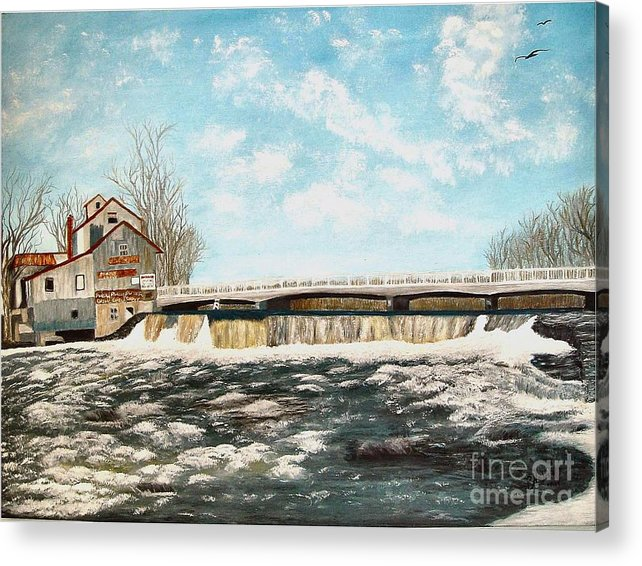 Mills Paintings Acrylic Print featuring the painting Chisholms Mill by Peggy Holcroft