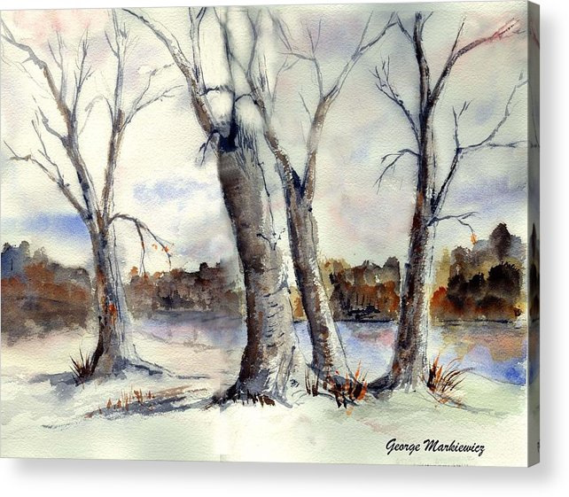 Landscape Acrylic Print featuring the print Dancing in Winter by George Markiewicz