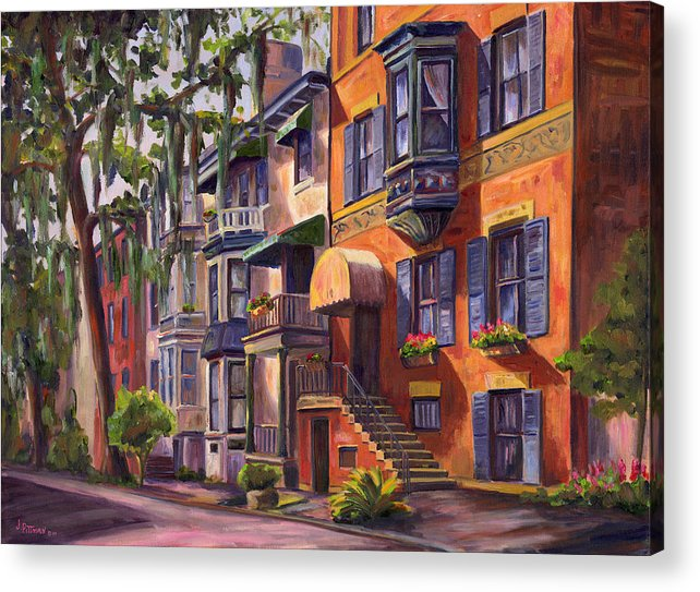Savannah Acrylic Print featuring the painting Hull Street In Chippewa Square Savannah by Jeff Pittman