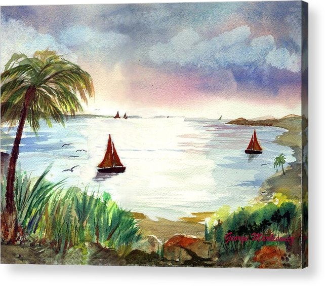 Island Landscape Acrylic Print featuring the print Island of dreams by George Markiewicz