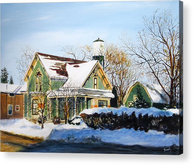 Smalltown Acrylic Print featuring the painting Saginaw And Sherman by William Brody