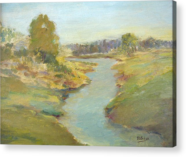 Landscape Acrylic Print featuring the painting Tranquil Stream by Jeannette Ulrich