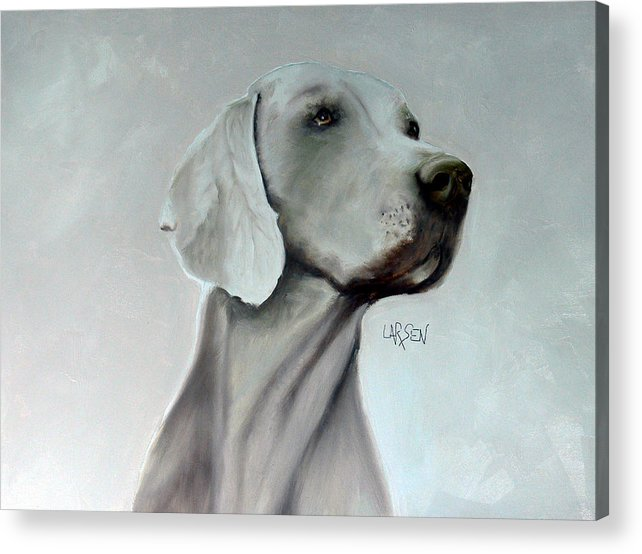 Acrylic Print featuring the painting Weimaraner by Dick Larsen