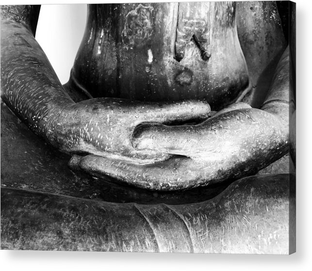 Buddha Acrylic Print featuring the photograph Gentle Buddha Hands by Georgia Fowler