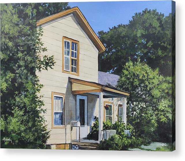 Small Town Acrylic Print featuring the painting Snuggle In by William Brody