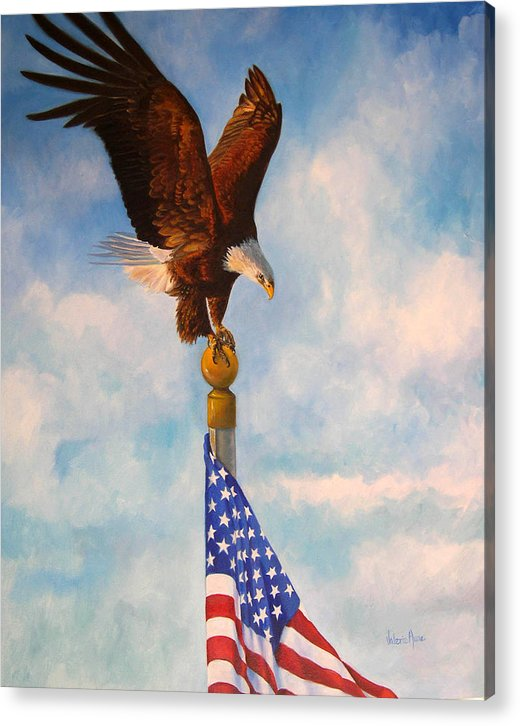 Eagle Acrylic Print featuring the painting Oh Beautiful by Valerie Aune