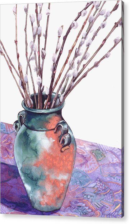Watercolor Acrylic Print featuring the painting Pussy Willows Bouquet by Caron Sloan Zuger