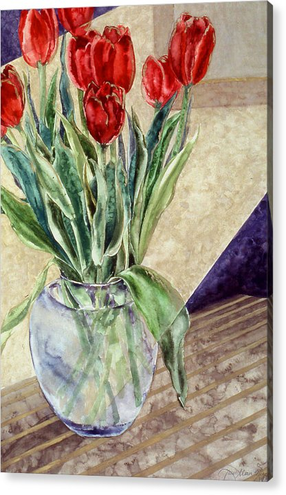 Watercolor Acrylic Print featuring the painting Tulip Bouquet - 11 by Caron Sloan Zuger