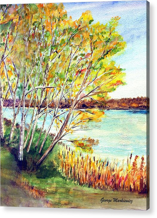 Lake And Trees Landscape Acrylic Print featuring the print Lake Geneva by George Markiewicz