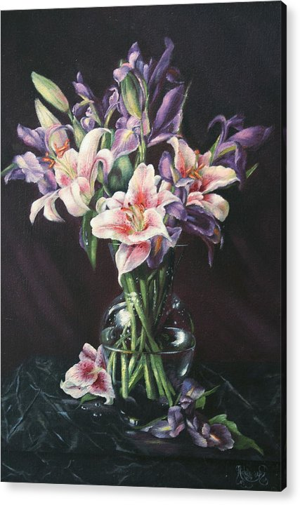 Floral Still Life Acrylic Print featuring the painting Laurette' Lillies by Michelle Kerr