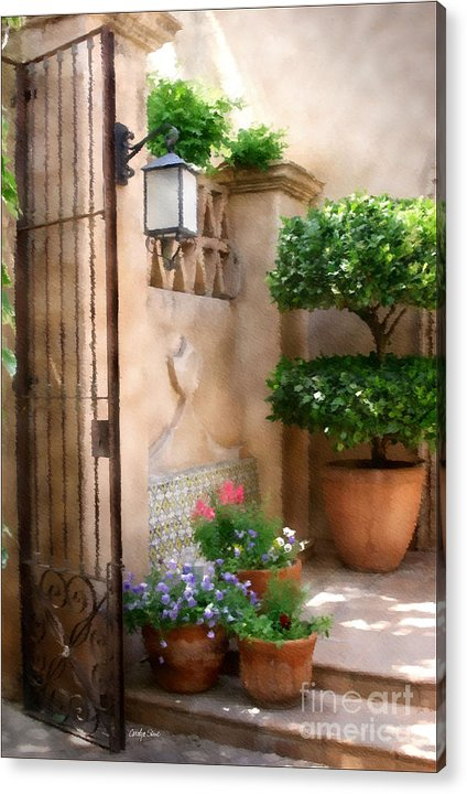 Doorway Landscape Still Life Painting Acrylic Print featuring the painting Tranquil Oasis by Carolyn Staut