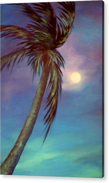 Palm Tree Acrylic Print featuring the painting Blue Night Palm by Joann Shular