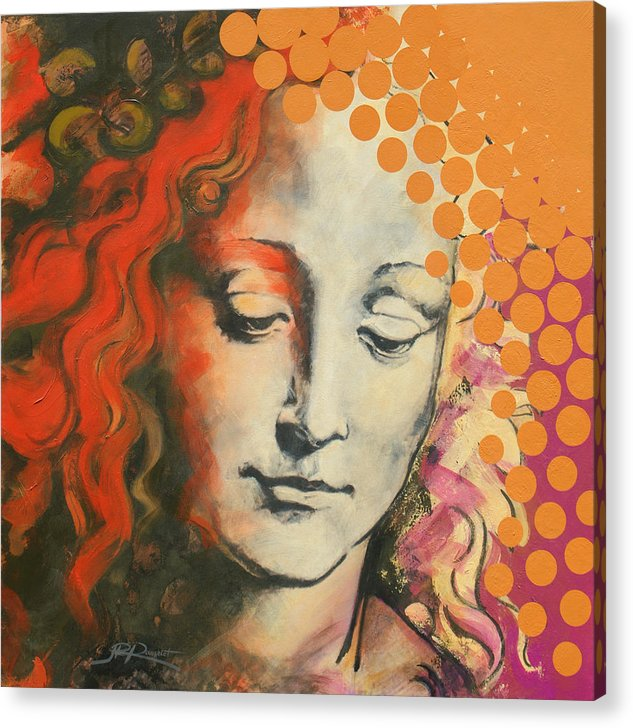 Figurative Acrylic Print featuring the painting Davinci's Head by Jean Pierre Rousselet