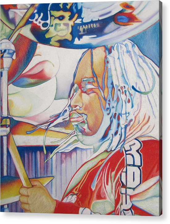 Carter Beauford Acrylic Print featuring the drawing Carter Beauford Colorful Full Band Series by Joshua Morton