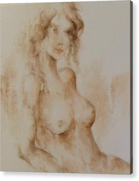 Nude Acrylic Print featuring the painting Misty Girl by Renee Shular