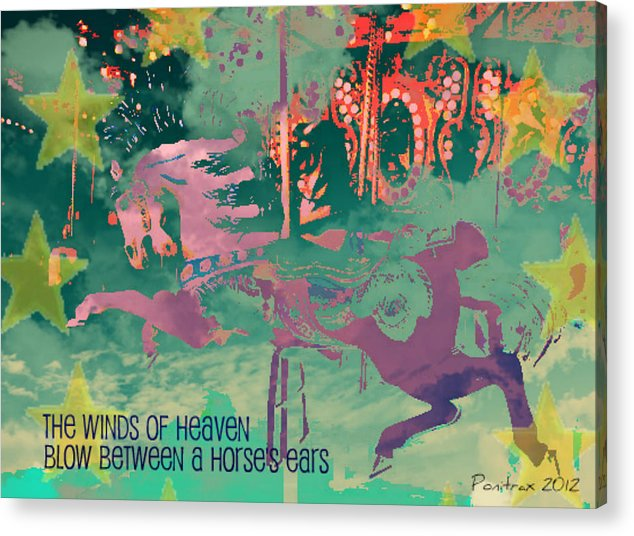 Stallions Acrylic Print featuring the mixed media Winds Of Heaven by Poni Trax