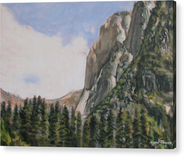 Landscape Acrylic Print featuring the painting One Flight Up by Howard Stroman