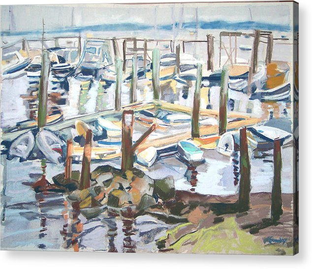 Maine Acrylic Print featuring the pastel Guardians Of The Harbor by Grace Keown