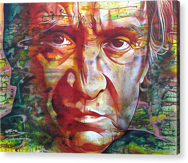 Johnny Cash Acrylic Print featuring the painting Johnny Cash by Joshua Morton