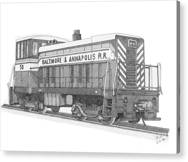 Baltimore And Annapolis Acrylic Print featuring the drawing Switcher Number 50 by Calvert Koerber
