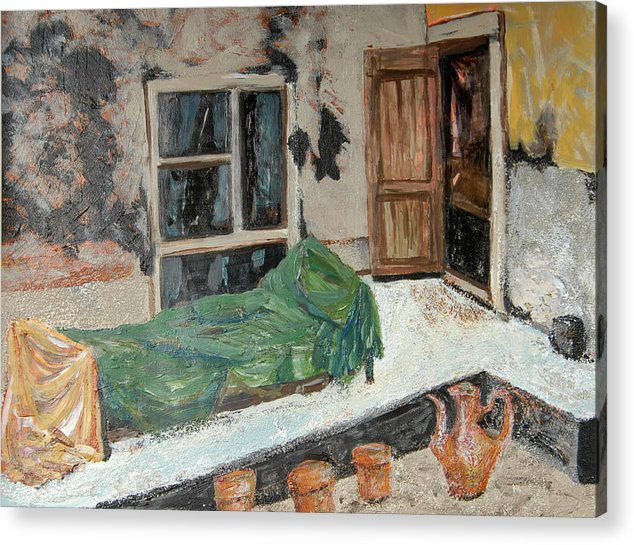 Acrylic Painting On Paper Acrylic Print featuring the painting Afghan Courtyard by Pam Aloisa