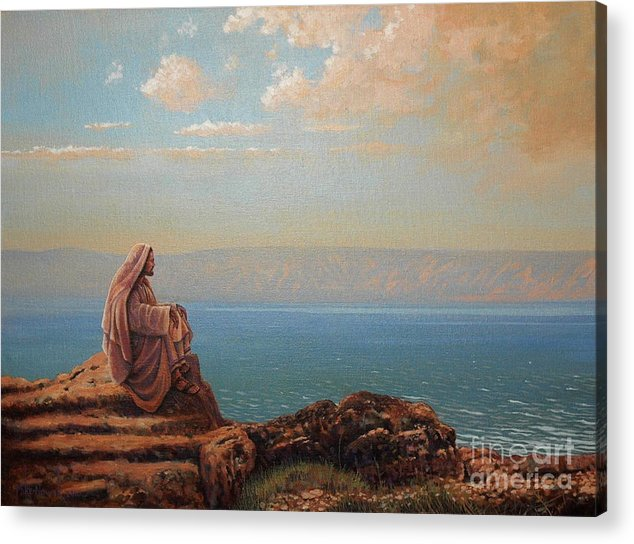 Jesus Acrylic Print featuring the painting Jesus By The Sea by Michael Nowak