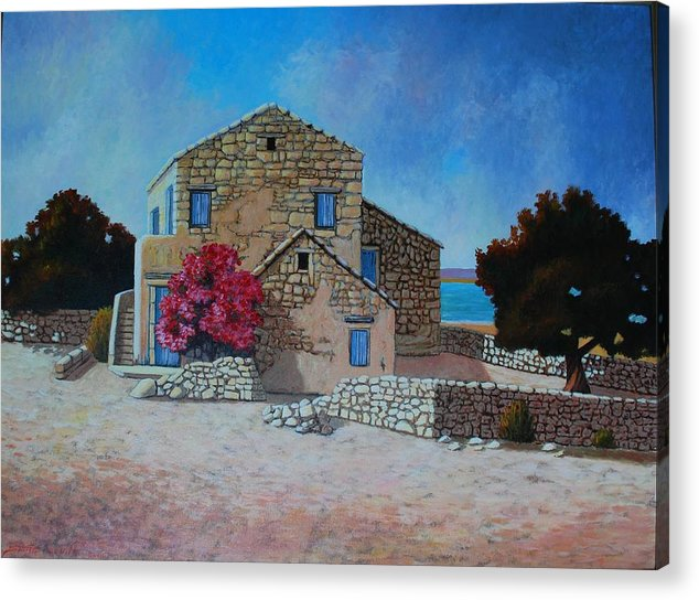 Impressionism Landscape Acrylic Print featuring the painting Stone House On The Beach by Santo De Vita