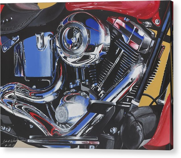 Harley Davidson Motorcycles Acrylic Print featuring the painting Reflections Of A Fat Boy by John Westerhold