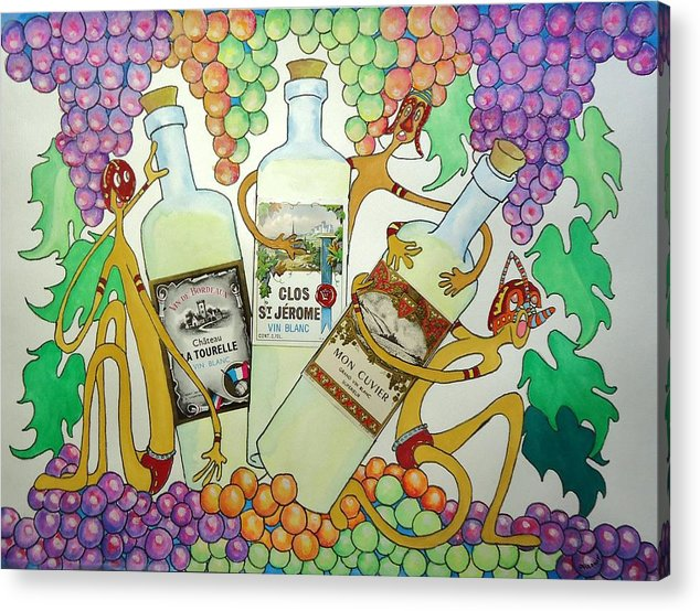 Grapes Acrylic Print featuring the painting Happy People With Wine by Glenn Calloway