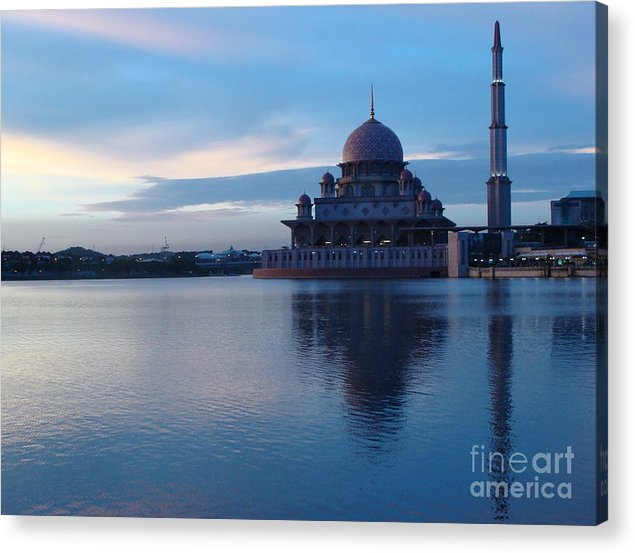 Islam Acrylic Print featuring the photograph Putrajaya Mosque At Evening by Jarrod Brown