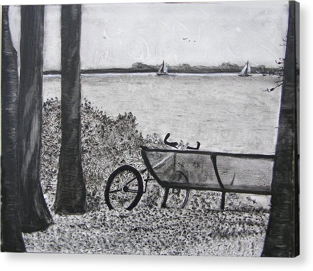 Bicycle Acrylic Print featuring the painting Enjoy The View by Fernando Armel