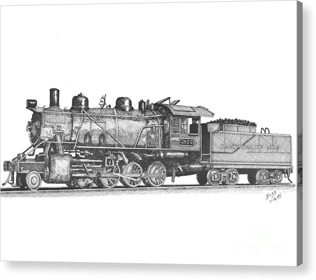 B & O Acrylic Print featuring the drawing Working Steam Engine by Calvert Koerber