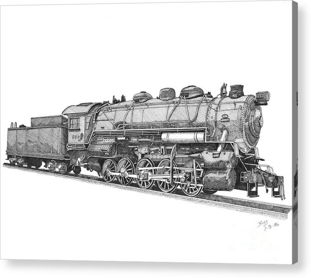Locomotive Acrylic Print featuring the drawing Heavy Steam Switcher 0-10-0 by Calvert Koerber