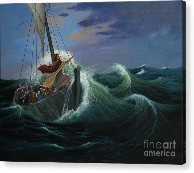 Bible Acrylic Print featuring the painting Peace Be Still by Michael Nowak