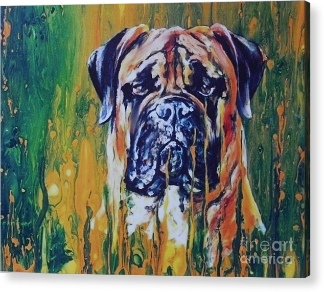 Dog Acrylic Print featuring the painting Hiding by Adele Pfenninger